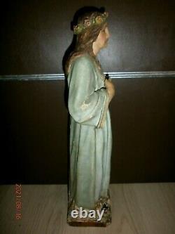 FIN XVIIIè/SAINTE ROSALIE/ANCIENNE STATUE RELIGIEUSE/BOIS PEINT POLYCHROME/47 cm