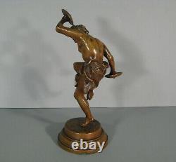 Faune Joueur De Cymbales Danseur Antique Sculpture Bronze Ancien Signé Rancoulet
