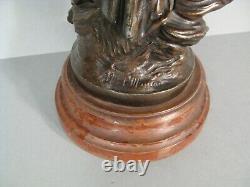 Femme A La Plume Et Putto Ancienne Statue Allegorie Ecriture Régule Signé Moreau