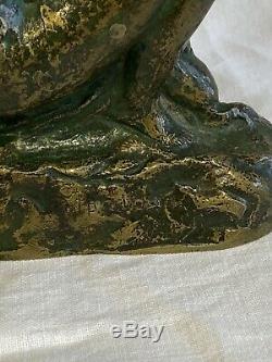 Femme Nue A L'enfant Grande Sculpture Ancienne Bronze Signée Ugo Cipriani
