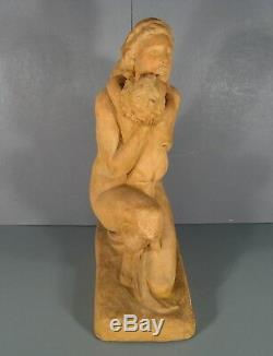Femme Nue A L'enfant Grande Sculpture Ancienne Terre Cuite Signée Ugo Cipriani