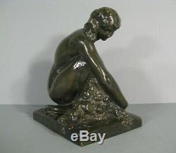 Femme Nue Ancienne Sculpture Bronze Art Deco Cire Perdue Signé Marcel Bouraine