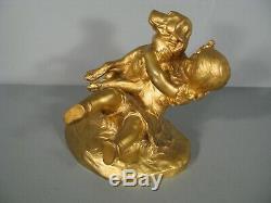 Fillette Et Chien Sculpture Ancienne Bronze Signé Ponsard