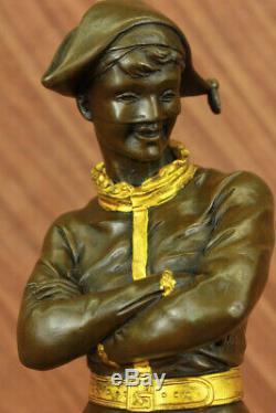 Fonte Dansant Harlequin Bouffon Ancien Bronze Sculpture Statue Marbre Base
