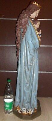 GRANDE ANCIENNE STATUE RELIGIEUSE/LA VIERGE ET JESUS/PLATRE POLYCHROME/110 cm