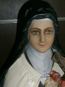GRANDE ANCIENNE STATUE RELIGIEUSE/SAINTE Thérèse DE LISIEUX/JESUS/PLATRE/H. 110cm