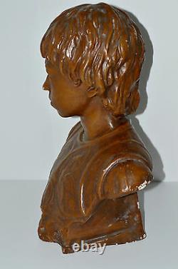 GRAND BUSTE JEANNE D'ARC PLATRE PEINT ANCIEN non signé 46 cm déco