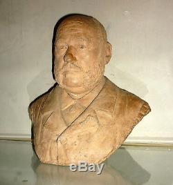 GRAND BUSTE, ancien, en terre cuite Mr GALY 1897
