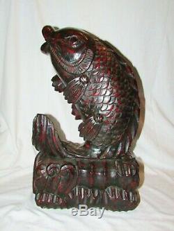 Grand Poisson Ancien Carpe Koi Sculpture En Bois Asie