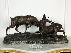 Grande Sculpture Ancienne Animalière Signée Thomas Cartier Combat De Cerfs