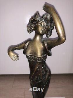 Grande Sculpture BRONZE Femme Danseuse Robe Sensuelle Statue Ancien Rare Art