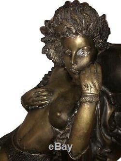 Grande Sculpture Bronze Erotique Femme Nue Statue Rare Doré Ancien 60cm Talons