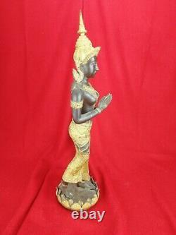 Grande Statue en Bronze doré, Bouddha, Déesse, Asie, H. 48cm Ancien