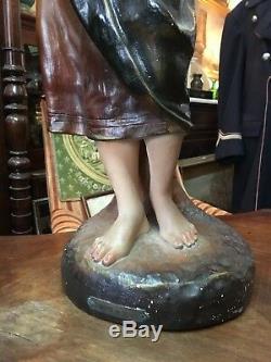 Grande Statue sculpture ancienne platre polychrome Clairette au village 19ème