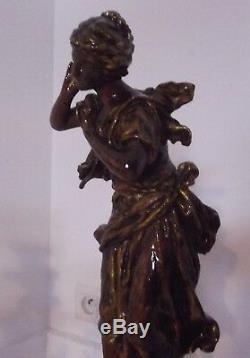 Grande parure cheminée pendule borne marbre chandeliers statue sculpture ancien