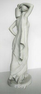 Grande sculpture statue ancienne en biscuit orientaliste Signée Leduc