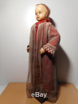 Grande statue poupée personnage sculpture tète cire ancienne Jésus 19 siècle
