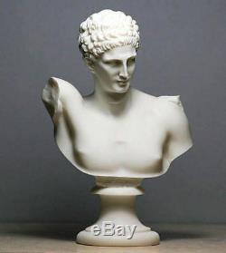 Grec Ancien Dieu Hermes Messager (Albâtre Buste Statue 30cm/30cm)