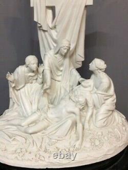 Groupe Sculpture Biscuit Porcelaine blanche 18e 19e Sevres ancien statue vintage