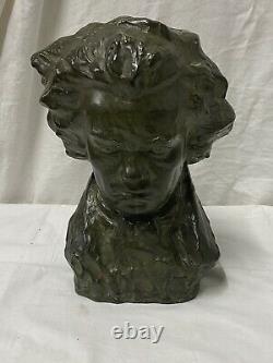 Guero Ancien Buste En Terre Cuite Patine Bronze Vert Représentant Beethoven