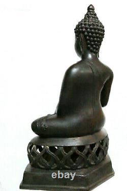H38cm, Ancien Grand Bouddha, bronze, Thaïlande, Chiang Saen, Lanna, XXè, 4986g