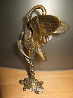 Héron et Serpent sur une Tortue Emmanuel FREMIET 1824 1910 Ancien bronze patiné