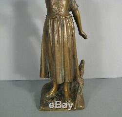 Jeanne D'arc Guerrière Ancienne Sculpture Bronze Signé Millet De Marcilly