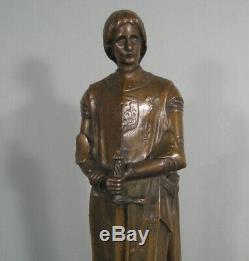 Jeanne D'arc Guerrière Ancienne Statue Bronze Signé Andre Besqueut Salon 1912