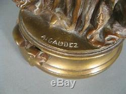Jeune Femme A La Marguerite Sculpture Ancienne Bronze Signé Adrien Gaudez