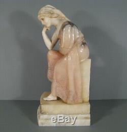 Jeune Femme Assise Sculpture Ancienne En Marbre Et Albtre / Statue Marbre