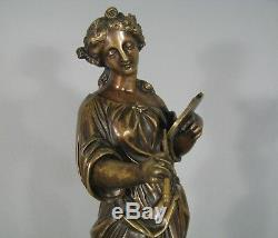 Jeune Femme Au Pinceau Sculpture Ancienne En Bronze Allégorie De La Peinture