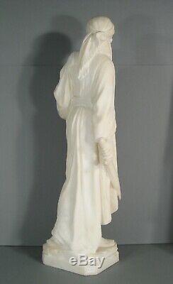 Jeune Femme Guerrière Grande Sculpture Orientaliste Ancienne Albtre Signé Pugi