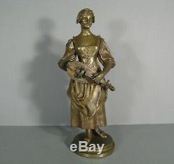 Jeune Femme Joueuse De Vielle Sculpture Ancienne Bronze Signé Signoret- Ledieu