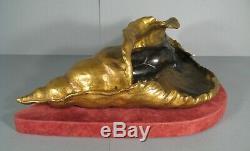 Jeune Femme Nue Naïade Sculpture Bronze Ancien Style Art Nouveau Signé E. Baudet