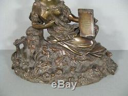 Jeune Femme Romantique Sculpture Ancienne En Bronze