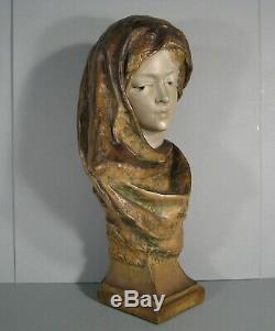 Jeune Femme Voilée Ancien Grand Buste Style Orientaliste En Pltre Polychrome