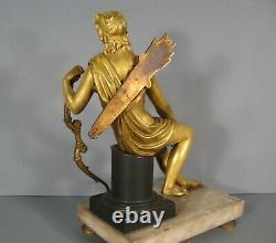 Jeune Homme Chasseur A L'arc Sculpture Bronze Ancien Actéon Epoque Empire