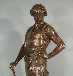 Jeune Homme Forgeron Pax Et Labor Grande Sculpture Bronze Ancien Signé Picault