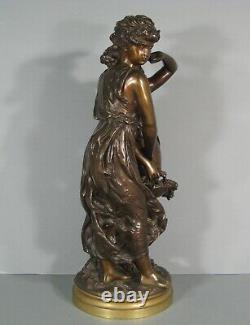 Jeunes Femmes A La Corbeille De Fleurs Ancienne Sculpture Bronze Signé Moreau