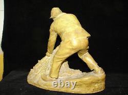 Jolie ancienne statue, pêcheur, terre cuite, Goldsheider