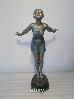 Jolie sculpture art deco 1930 statue femme baigneuse 36cm ancienne statuette