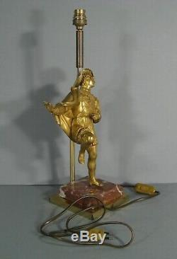 Lampe Gentilhomme Renaissance Mignon Du Roi Sculpture Ancienne Bronze Doré