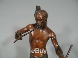 Le Charmeur De Serpent Sculpture Ancienne Bronze Signé Arthur Bourgeois