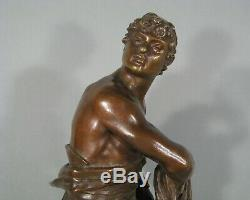 Le Gladiateur Sculpture Ancienne Bronze Signé Eugène Marioton