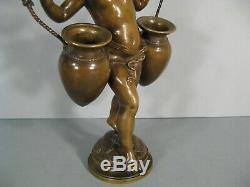 Le Jeune Garçon Porteur D'eau Ancienne Sculpture Bronze Signé Auguste Moreau