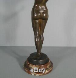 Le Réveil Jeune Femme Nue Sculpture Statue Ancienne Bronze Signé David