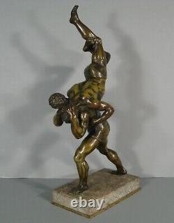 Les Lutteurs Sculpture Bronze Ancien Signé Francois Laugier Lutte Gréco-romaine
