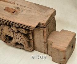 Linteau en bois sculpté ancien, Indes