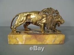 Lion Ancienne Sculpture Animalière En Bronze / Lion Sujet En Bronze