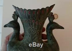 Magnifique Rare Ancien Vase Bronze Paons Birmanie